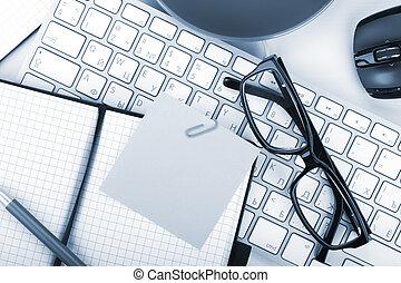 kantoorartikelen, en, geberekeend, toetsenbord, closeup