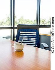 kantoorbureau, met, coffee.