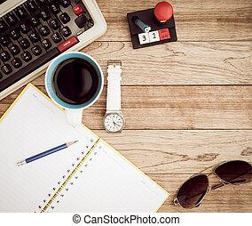 kantoorbureau, met, koffie, achtergrond