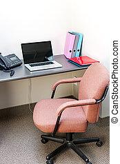 kantoorcel, met, laptop computer