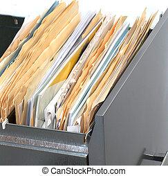 kantoorkast, met, archief