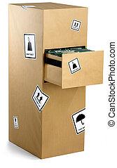 kantoorkast, verpakte, voorzichtig, in, pakpapier, gereed, voor, een, kantoorbeweging, vrijstaand, op, een, witte achtergrond