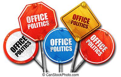 kantoorpolitiek, 3d, vertolking, ruige , straatteken, verzameling