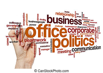 kantoorpolitiek, woord, wolk, concept