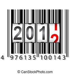 kantor, barcode, vector., rok, nowy, 2012