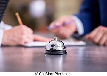 kantor, hotel przyjęcie, dzwon