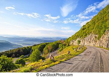 kanyargás, hegyek, balkán, út, hegy