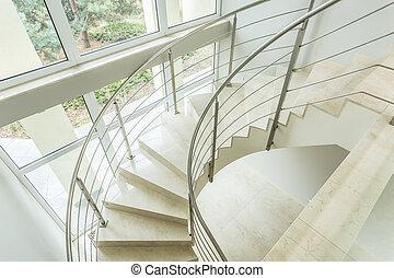 kanyargás, szoba, lépcsősor, fényűzés