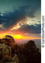kanyon, napnyugta, nagy