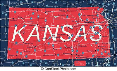 Kanzas state detailed editable map