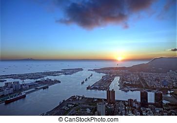 kaohsiung, stad, en, haven, op, ondergaande zon