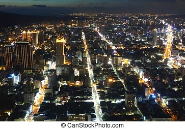 kaohsiung, stadt zündet, nacht