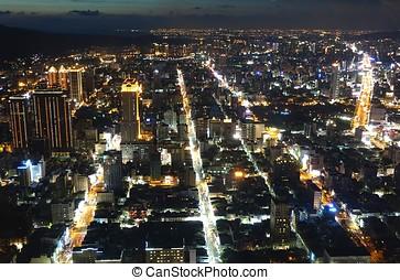 kaohsiung, város láng, éjjel