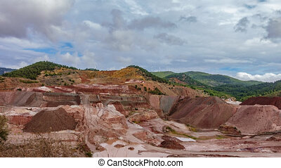 Kaolin strip mine in the mountain time lapse - Top view...