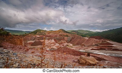 Kaolin strip mine sliding camera time-lapse - Top view wide...
