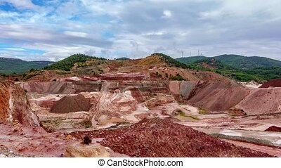 Kaolin strip mine time lapse - Top view time-lapse of kaolin...