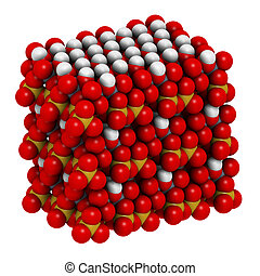 Kaolinite clay mineral, crystal structure. Atoms shown as...