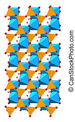 Kaolinite clay mineral, crystal structure. Shown as mixed...
