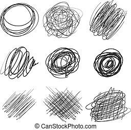 kaotisk, abstrakt, runda, skiss