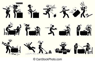 kaotisk, workers., upptaget, restaurang