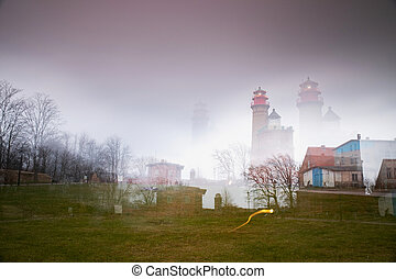 Kap Arkona lighthouse in abstract multi-exposure. Cold ...