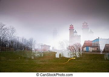Kap Arkona lighthouse in abstract multi-exposure