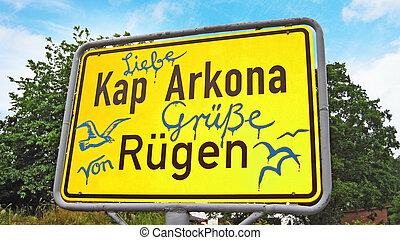 Kap Arkona, Sign with greetings