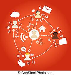 kapcsolatok, különböző, nemzetek, hálózat, emberek