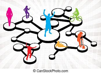 kapcsolatok, média, ábra, társadalmi