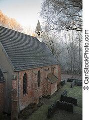 kapelle, oder, winterlandschaft, kirche