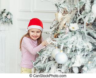 kapelusz, święty, uśmiechnięta mała dziewczyna