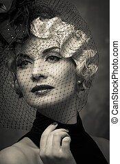 kapelusz, blond, mały, obraz, welon, elegancki, kobieta, ...