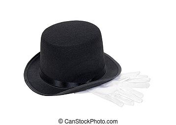 kapelusz, górny, rękawiczki