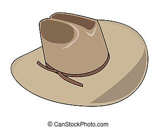 kapelusz, ilustracja, kowboj