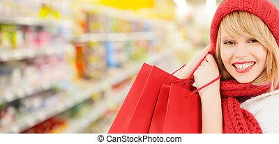 kapelusz, kobieta shopping, szalik, supermarket