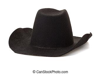 kapelusz kowboja, na białym, tło