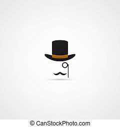 kapelusz melonika, wąsy