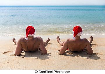 kapelusz, morze, zwrotnik, plaża, boże narodzenie, czerwony, człowiek