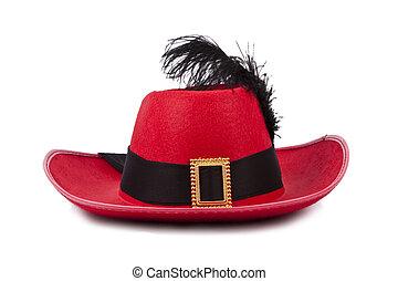 kapelusz, odizolowany, czerwony