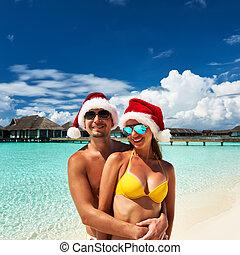kapelusz, para, malediwy, plaża, santa