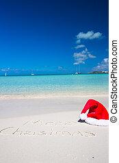kapelusz, pisemny, boże narodzenie, tropikalny, piasek, wesoły, biała plaża, boże narodzenie