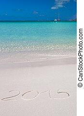 kapelusz, pisemny, tropikalny, piasek, 2015, biała plaża, boże narodzenie