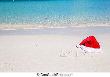 kapelusz, pisemny, tropikalny, piasek, biały, 2016, plaża, boże narodzenie