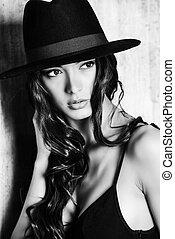 kapelusz, pociągający, dama