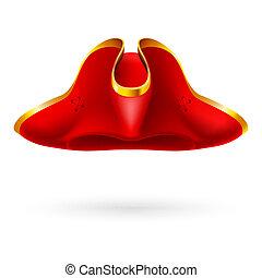 kapelusz, podniesiony, czerwony