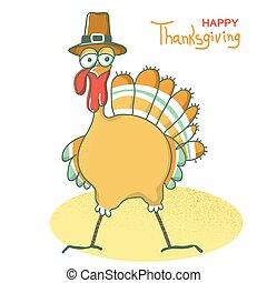 kapelusz, ptak, dziękczynienie, day., pielgrzym, holiday., szczęśliwy, indyk