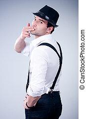 kapelusz, romantyk, człowiek