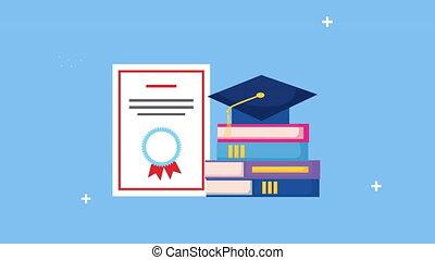 kapelusz, skala, stos, dyplom, książki