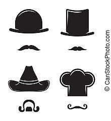 kapelusz, wąsy, zbiór