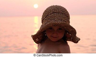 kapelusz, wieczorny, spoczynek, dziewczyna, wybrzeże